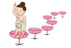 Baby Buddha born and mom ,illustration of Buddha. Isolated on white Stock Images