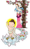 Baby Buddha born and mom ,illustration of Buddha, isolated on white. Buddha`s mother standing under the cannon Ball Tree with little Lord Buddha is Born and royalty free illustration