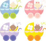 Baby Buggy. Retro baby buggies in different colors Royalty Free Stock Photography