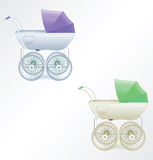 Baby buggy illustration. Vector carriage for children old style Stock Image