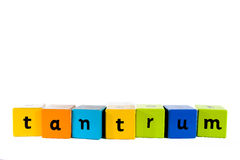 Baby building blocks Tantrum. The word Tantrum made with colourful baby's building blocks royalty free stock photos