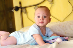 Baby built on the bed looking curiously Stock Photography