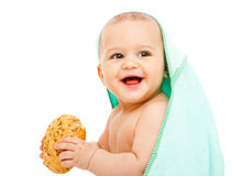 Baby with bun Royalty Free Stock Photos