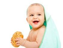 Baby with bun Royalty Free Stock Photos