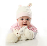 Baby and bunnies. Portrait of an adorable baby girl wearing a bunny rabbit costume and petting two baby bunnies Royalty Free Stock Image