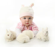Baby and bunnies. Portrait of an adorable baby girl wearing a bunny rabbit costume and petting two white bunnies Stock Photo