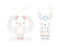 Baby bunnies boy and girl. Hand drawn vector illustration of a little smiling bunny boy in shorts and girl with bows, text It s a boy, It s a girl. Isolated Stock Image