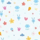 Baby bunnies flowers clouds hearts kids seamless pattern Royalty Free Stock Images