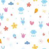 Baby bunnies flowers clouds hearts seamless pattern Royalty Free Stock Photography