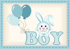 Baby bunny and balloons with word boy Royalty Free Stock Image