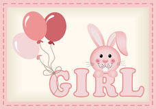 Baby bunny and balloons with word girl Royalty Free Stock Photography