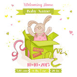 Baby Bunny in a Box - Baby Shower Card Stock Photo