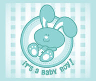 Baby Bunny Boy. Cartoon illustration of a baby bunny on an abstract checkers background. Great for baby arrival announcements Stock Photos