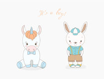 Baby bunny boy and baby unicorn boy. Hand drawn vector illustration of cute animal baby boys: smiling rabbit in a baseball cap and unicorn with a bow tie, text Royalty Free Stock Image