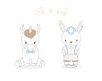 Baby bunny boy and baby unicorn boy Royalty Free Stock Photography
