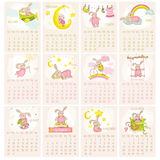 Baby Bunny Calendar 2015. Week starts with Sunday - in vector Stock Photography