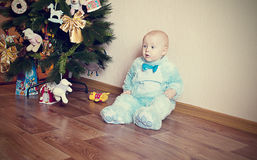 Baby in bunny costume Stock Image