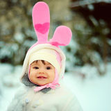 Baby with bunny dress Royalty Free Stock Photo