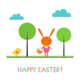 Baby bunny Easter card Stock Images