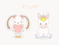 Baby bunny girl and baby unicorn girl. Hand drawn vector illustration of cute animal baby girls: smiling rabbit and unicorn with ribbons, text It s a girl Royalty Free Stock Photography