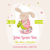Baby Bunny on a Horse - Baby Shower Card Stock Photos