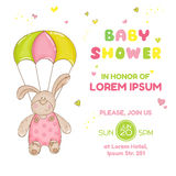 Baby Bunny with Parachute - Baby Shower Card Stock Image