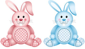 Baby bunny pink and blue. Scalable vectorial image representing a baby bunny pink and blue, isolated on white Royalty Free Stock Photography