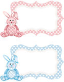Baby bunny pink and blue tag label Royalty Free Stock Photos