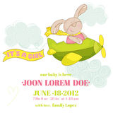 Baby Bunny on a Plane - Baby Shower Card Royalty Free Stock Photography