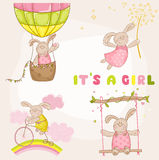 Baby Bunny Set - Baby Shower Card. Baby Bunny Set - Baby Shower or Arrival Card - in vector Royalty Free Stock Images