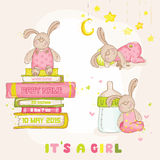 Baby Bunny Set. For Baby Shower or Arrival Card - in vector Stock Photo