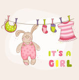 Baby Bunny Shower Card. Baby Bunny Shower or Arrival Card - in vector Royalty Free Stock Photos