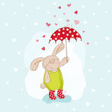 Baby Bunny with Umbrella Illustration Stock Photos