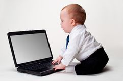 Baby Business with blank laptop Royalty Free Stock Photos