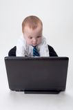 Baby Business working on laptop Royalty Free Stock Photography