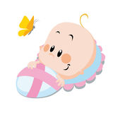 Baby with butterfly Stock Image
