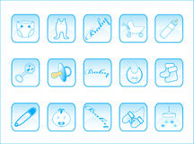 Baby buttons. Illustration of baby buttons, blue Stock Image