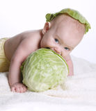 Baby with cabbage leaf on his head. Cute baby with cabbage leaf on his head Stock Photography