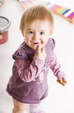 Baby with cake Royalty Free Stock Images