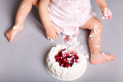 Baby with cake Stock Photos