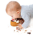 Baby and cake Stock Image