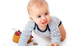 Baby and cake Stock Photo