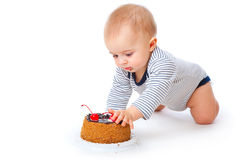 Baby and cake Royalty Free Stock Images