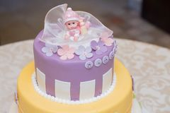 Baby cake with flowers and toy royalty free stock photos