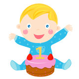 Baby and cake. Illustration of a little baby and cake vector illustration