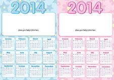 Baby calendar 2014 in english Stock Photo