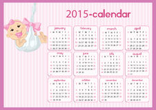 Baby Calendar for girls. Baby girl calendar in us style, start on sunday, each month with individual table Stock Photos