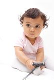 Baby with camera Royalty Free Stock Photos