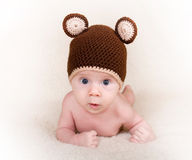 Baby with cap. Three month baby with cap Stock Images