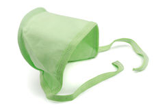 Baby cap. Green newborn baby cap isolated on white Stock Photography